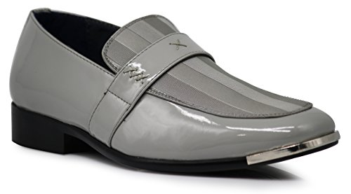 JY1N Men's Satin Metal Silver Tip Loafer Dress Shoes Stripes Church Wedding Party Groomsmen Slip On Dress Shoes (13 D(M) US, Gray) by Enzo Romeo
