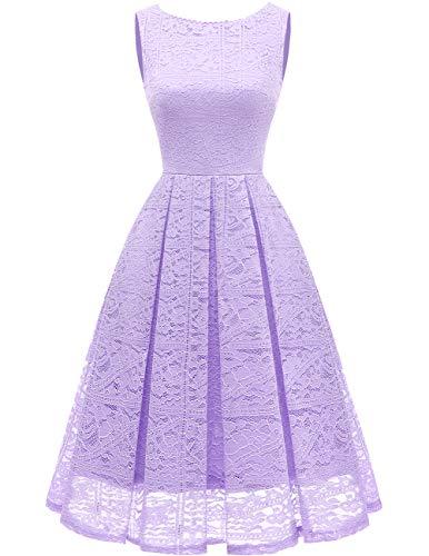 (Bridesmay Women's Elegant Sleeveless Vintage Floral Lace Tea Length Bridal Shower Cocktail Party Dress Lavender 2XL)