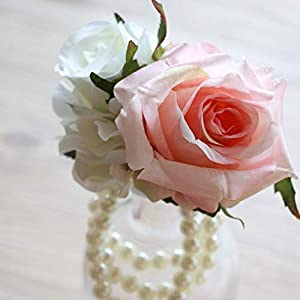 Wedding corsage, blush pink rose wedding corsage, bridesmaid corsage, pearl wrist corsage, artificial flower corsage 104