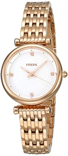 (Fossil Women's Carlie Stainless Steel Quartz Watch with Strap, Rose Gold, 12 (Model: ES4429))