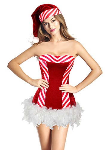 Charmian Women's Mrs Santa Claus Stripe Costume Dress Red/White Medium