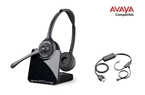 Avaya Compatible Plantronics CS520 VoIP Wireless Headset Bundle with Electronic Remote Answer/End for Avaya 2420 4610 4610SW 4620 4620SW 4621 4621SW 4622 4622SW 4625 4625SW 4630SW 5420 5610 5620 5621