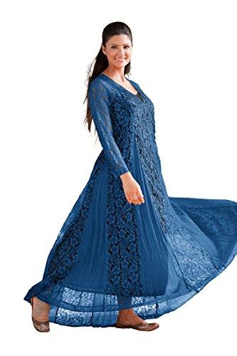 HolyClothing Tamara Gothic Godet Vtg Victorian Floral Lace Dress w/ Lining - XXX-Large - Sapphire Blue