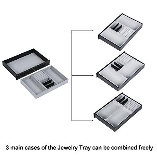 BEWISHOME Watch Box Organizer Case 12 Mens Jewelry Display Drawer w/Adjustable Tray Glass Top Black PU Leather SSH02B by BEWISHOME (Image #4)