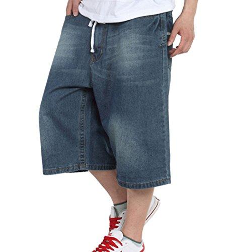 QBO Men's Hip Hop Baggy Jeans Loose Denim Shorts Cropped Trousers