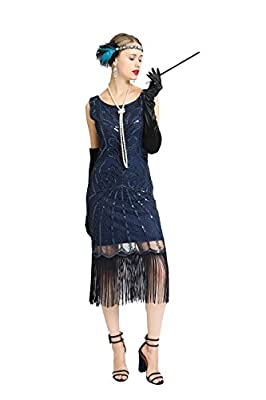 Women's Great Gatsby 1920s Flapper Dress Fringed Tassel Sequins Prom Cocktail Costume with Accessories