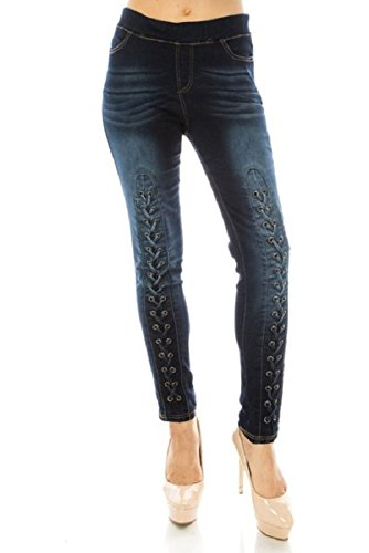 Zip Denim Leggings - 4