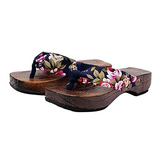 Summer Platform Shoes Women Clearance Wood Sandals Clogs Geta Thong Slippers Traditional Flip Flops Dressy (Blue, 36) (T-bar Platform Shoes)