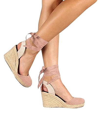 Fashare Womens Closed Toe Espadrilles Platform Heel Wedge Shoes Ankle Strap Sandals (7 B(M) US, 4-Pink)