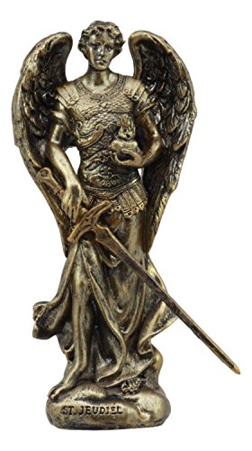 """Ebros Holy Saint Jegudiel Archangel Jehudiel Statue 5""""Tall Collectible Figurine Angelic Patron of All Who Work And Spiritual Endeavors The Reward Of God"""