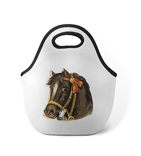 Black Horse With Gold Bridle Animals Neoprene Insulated Lunch Box Bag