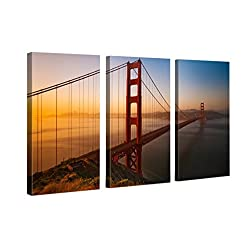 Very artistic Canvas Print Wall Art GOLDEN GATE BRIDGE San Francisco Cityscape Canvas Picture Stretched On Wooden Frame Giclee Canvas Printing Hanging Wall Deco Picture 3 Panel