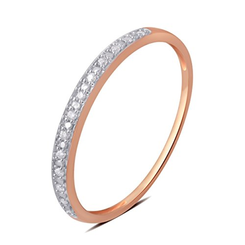0.05 CTTW Round Diamond Wedding Band in 10K Rose Gold by Brilliant Diamond