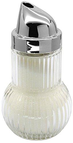 Fackelmann 46907Sugar Dispenser Ruby Glass Sugar Pourer with Chrome Capsule