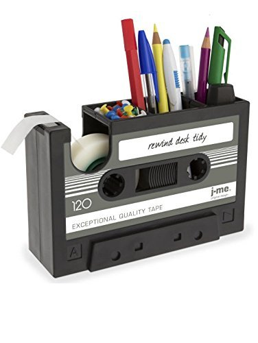 Okayji Rewind Desk Tidy Pen Stand Tape Dispenser Set, Black Pencil Holders at amazon