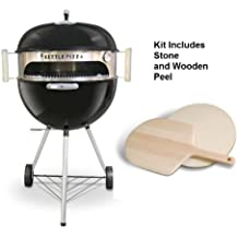 Made in USA KettlePizza Deluxe Pizza Oven Kit for Kettle Grills - Includes Stone and Wooden Peel, KPD-22
