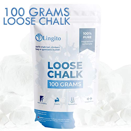 (Lingito 100 Grams of Loose Chalk for The Gym, Weightlifting, Rock Climbing, Billiards and More)