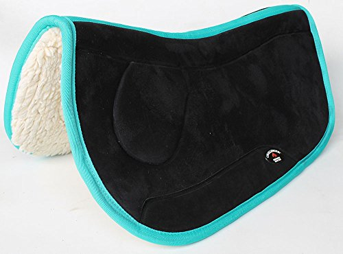 CHALLENGER Equine Western Horse Saddle PAD 28X32 Double Back Fleece Lined Black Turquoise 3992