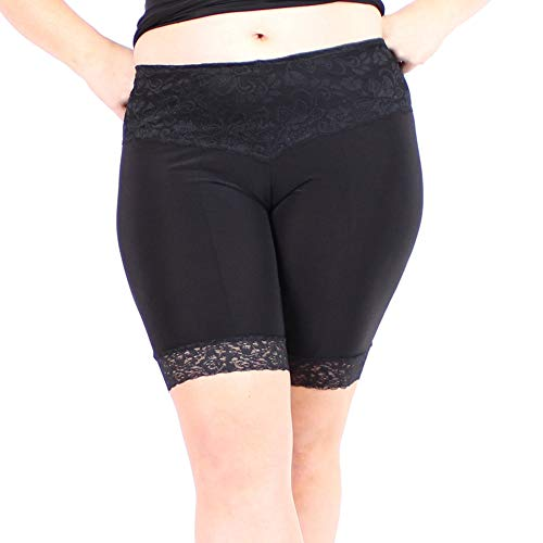 Undersummers Lace Shortlette: Rash Guard Slip Shorts (3X, Black)