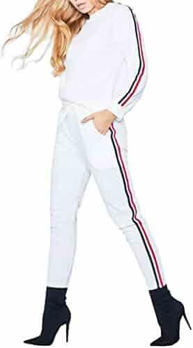 Sports Apparel Women Abetteric Women Stripes Skinny with Hood 2 Piece Set Cozy Stylish Tracksuit Jog Set