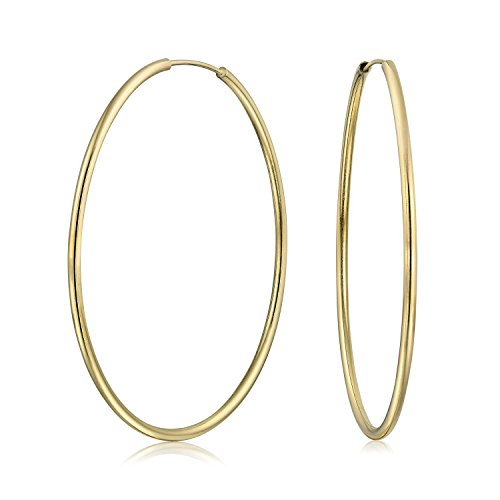 Plated Gold Brass Earrings - Minimalist Endless Continuous Thin Tube Hoop Earrings 18k Gold Plated Brass For Women Shinny Finish 2 inch Dia