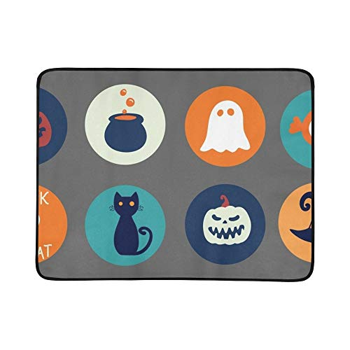 YKNFIS Halloween Collection Round Stickers Traditional Cartoon Portable and Foldable Blanket Mat 60x78 Inch Handy Mat for Camping Picnic Beach Indoor Outdoor -
