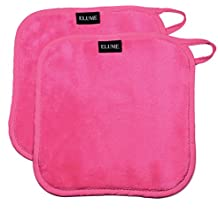 """ELUME Makeup Remover Cloths Remove Cosmetics, Dirt, Oil, Sunscreen, Facial Masks, Soft on Face, Eyes, Lips Removing Makeup and Cleansing Skin, Set of 2 Pink Towels with Loop to Hang Dry 8"""" x 8"""""""