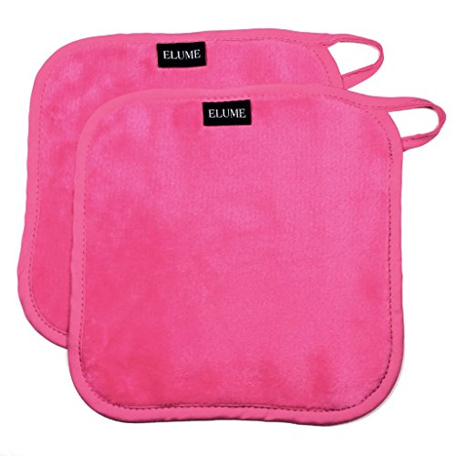 ELUME Makeup Remover Cloths Remove Cosmetics, Dirt, Oil, Sunscreen, Facial Masks, Soft on Face, Eyes, Lips Removing Makeup and Cleansing Skin, Set of 2 Pink Towels with Loop to Hang (Lash Wash Makeup Remover)