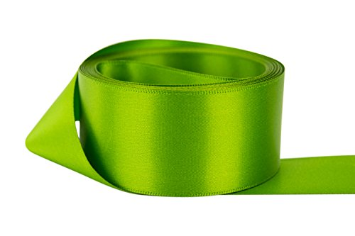- Ribbon Bazaar Double Faced Satin 1-1/2 inch Leaf Green 50 Yards 100% Polyester Ribbon