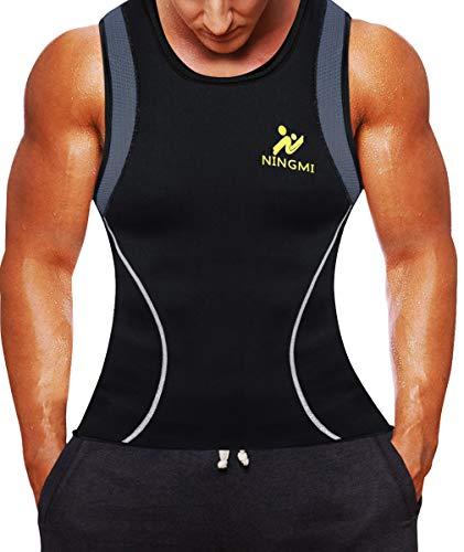 - Men Neoprene Waist Trainer Jacket Sweat Vest Sauna Compression Suit Corset Top for Abdominal Trainer (S, Black8072)