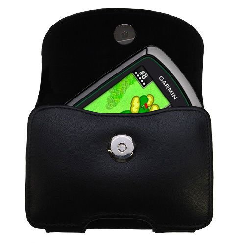 Belt Mounted Leather Case Custom Designed for the Garmin Approach G3 G5 G6 - Black Color with Removable Clip by Gomadic
