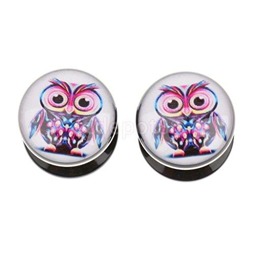 Acrylic Cute Owl Flesh Tunnel Ear Plug Earring Earlet Stretcher Expander 10mm