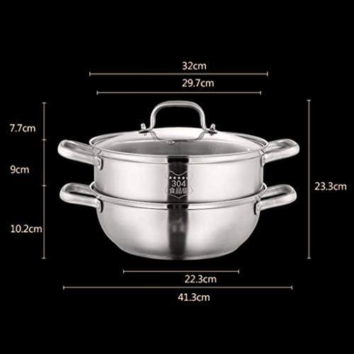 Cuiseur Vapeur/Pot à Soupe en Acier Inoxydable 304 Ménage 2 Couches avec Vapeur 32 cm épaissi Convient pour cuisinière à gaz/cuisinière à Induction
