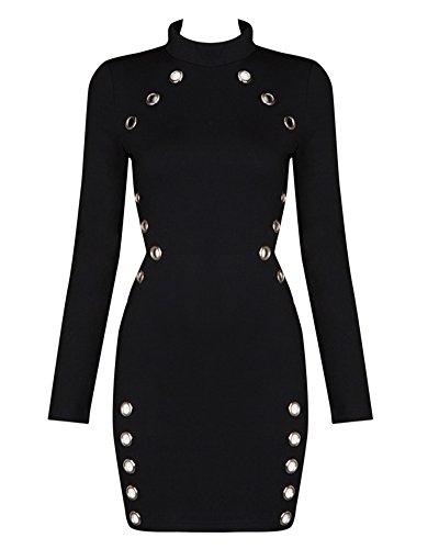 Whoinshop Manches Longues Oeil Métal Taille Des Femmes Coupe-clubwear Mini-partie De Noir Robe