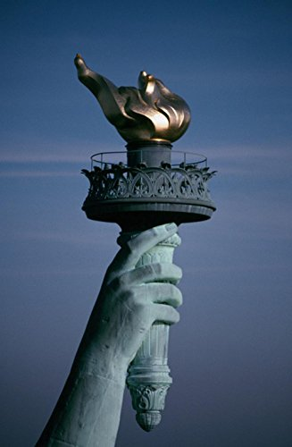 Laminated 24x37 inches Poster: Statue of Liberty Flame Torch Symbol Freedom Arm New York City Manhattan Island NYC Cityscape Harbor Attraction Landmark Urban Icon Historic USA -