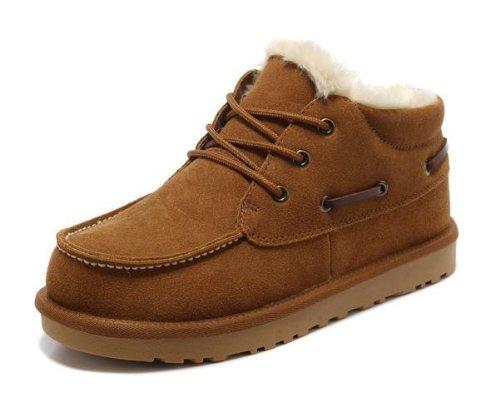 HAPPYSHOP(TM) 2014 Winter Cotton Warm Shoes Mens Snow Boot Martin Boots Desert Boot EUR Size 39-44 Maroon iEQIW