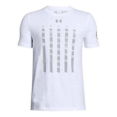 Under Armour Boys' Heater 5 Star T-Shirt,White (100)/Metallic Silver, Youth Small