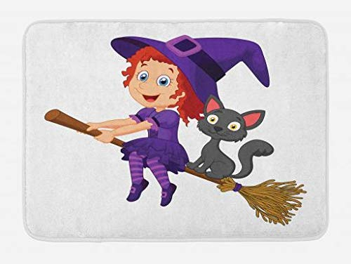 Witch Bath Mat, Cute Happy Girl with Funny Cat Celebration Costume Joyful Party Halloween Childhood, Plush Bathroom Decor Mat with Non Slip Backing, 23.6 W X 15.7 W Inches, Multicolor ()