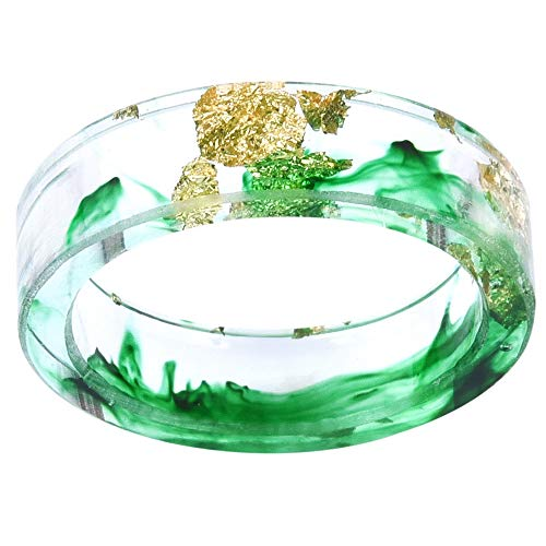 Jude Jewelers 8mm Ocean Style Transparent Plastic Resin Wedding Band Cocktail Party Ring (Green, - Green Mens Resin