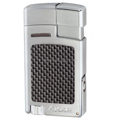 Xikar Forte Carbon Fiber Silver Single Jet Lighter