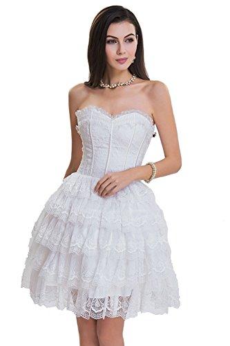 SZIVYSHI Women's Sexy 14 Plastic Boned Lace up Bustier Corset Dress White M