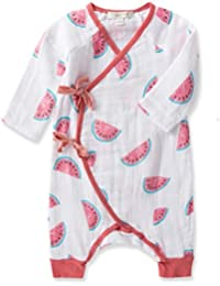 Watermelon Cotton Muslin Kimono Coverall Wrap (0-3m)