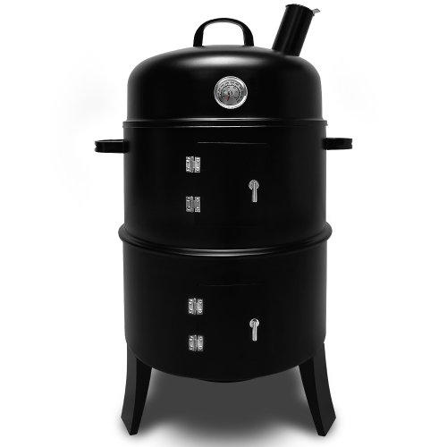 3in1 Räuchergrill und Grillofen mit Thermometer - BBQ Smoker Rundgrill
