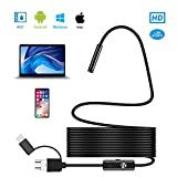 Endoscope, Abasker Android OTG 5.5mm Waterproof Snake HD Video Borescope Semi-Rigid Cord with Micro USB Type-C with 6 Adjustable LED Lights for OTG Android Phone, Windows PC, Mac (1.5m/4.92FT)