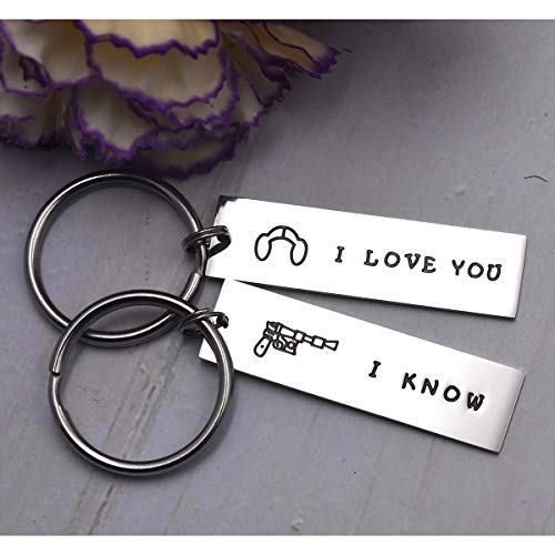 LParkin Couple Gifts for Him and Her Wedding Gifts Star Wars Jewelry I Love You I Know Keychain Girl - coolthings.us