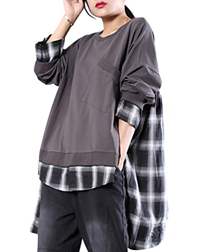 YESNO WD8 Women Casual Pullover Sweatshirt Contrast Color Plaid Stitched Top Blouses Side Slit Long Sleeve/High-Low Hem