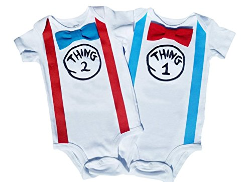 Perfect Pairz Twin Boy Outfits Thing 1 Thing 2 White-red-Blue]()