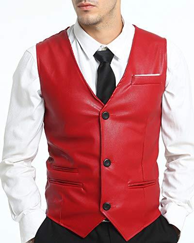 Faux Manches Sans Homme Gilet Rétro Veste Cuir Rouge Costume IwqX4xa