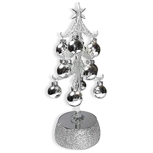 Silver Light Mini (BANBERRY DESIGNS Glass Tree with Ornaments - Silver Glittery Christmas Tree with LED Lights - Mirrored Base - Mini Silver Ornament Balls)