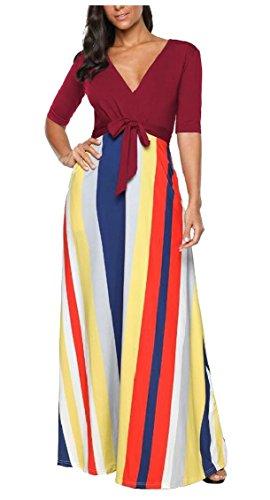 Jaycargogo Femmes Manches Courtes Patchwork Rayé Robe Maxi Casual Avec Poches Latérales Vin Rouge